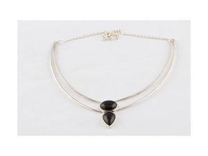 Awesome Black Onyx Stone Necklace In Sterling Silver