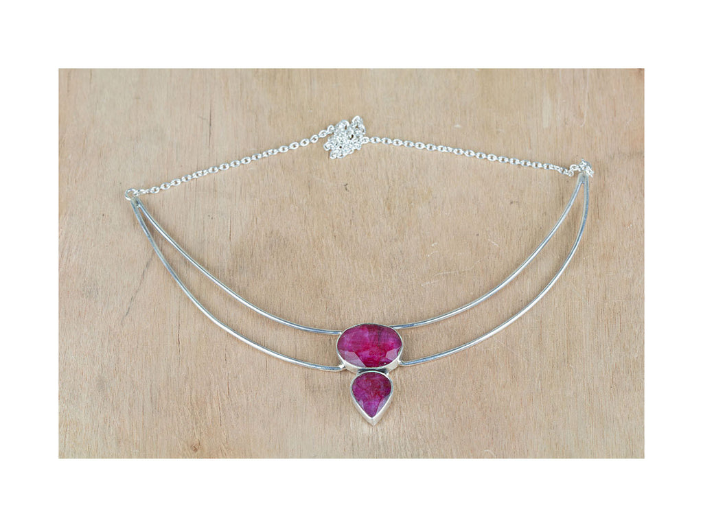 Sensational Red Ruby Sterling Silver Necklace