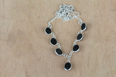 Remarkable Black Onyx And Silver Necklace