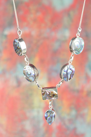 Beautiful 925 Sterling Silver Abalone Shell Gemstone Necklace