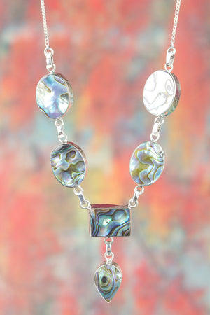 Amazing 925 Sterling Silver Abalone Shell Gemstone Necklace