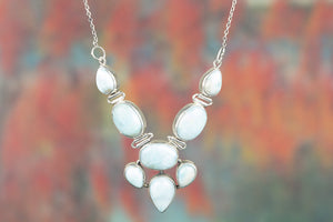 Amazing 925 Sterling Silver Larimar Gemstone Necklace