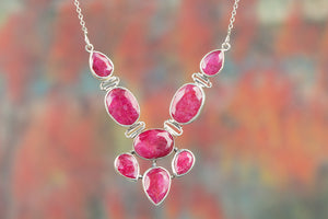 Beautiful 92.5 % Sterling Silver Ruby Gemstone Necklace