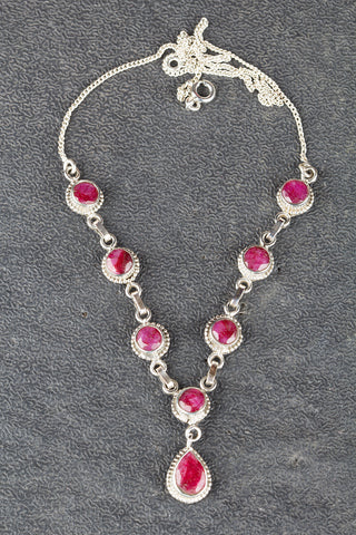 925 Silver Handmade Ruby Necklace