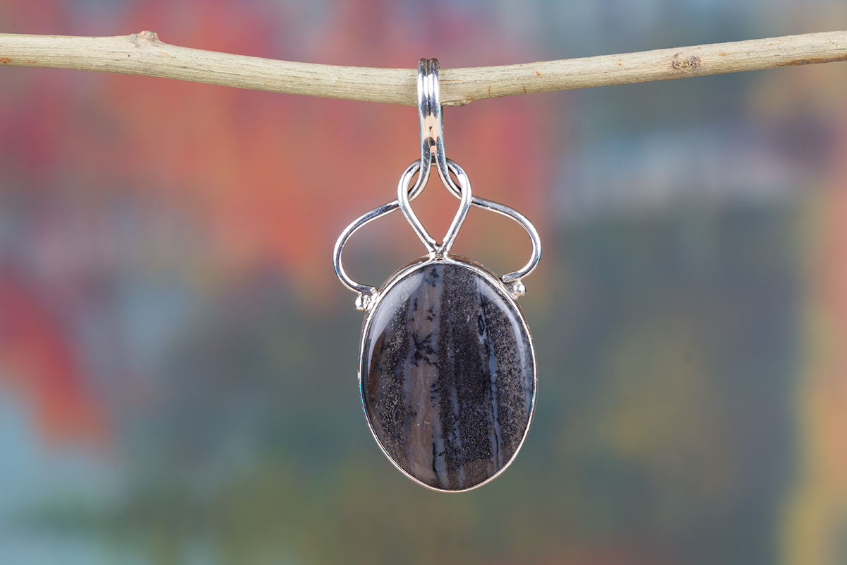 Chunky Jasper Gemstone & Pure 925 Sterling Silver Pendant