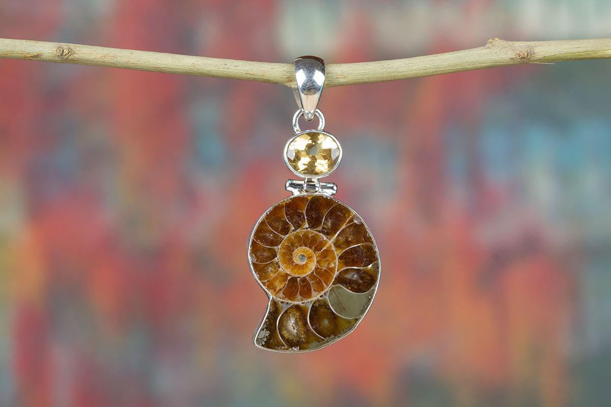 Amazing Ammonite Gemstone & Pure 925 Sterling Silver Pendant