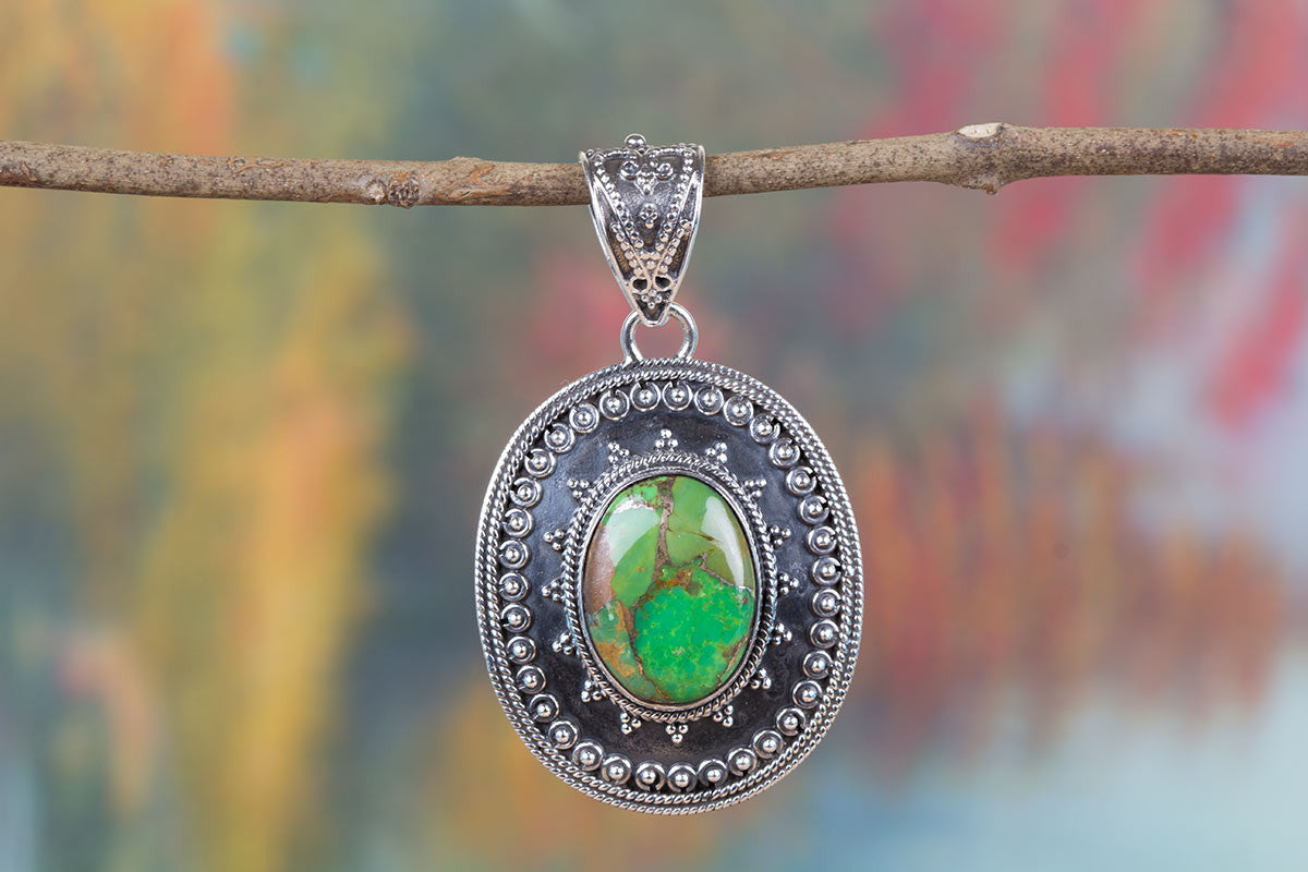 Handemade Green Turquoise Gemstone 925 Silver Pendant