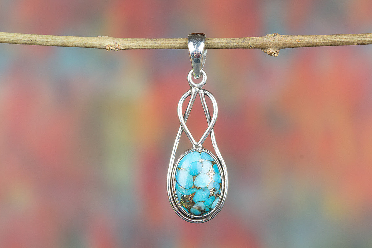 Handemade Blue Copper Turquoise Gemstone 925 Silver Pendant