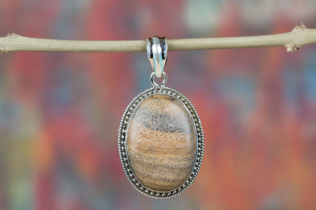 Charming 925 Sterling Siver Picture Jasper Gemstone Pendant