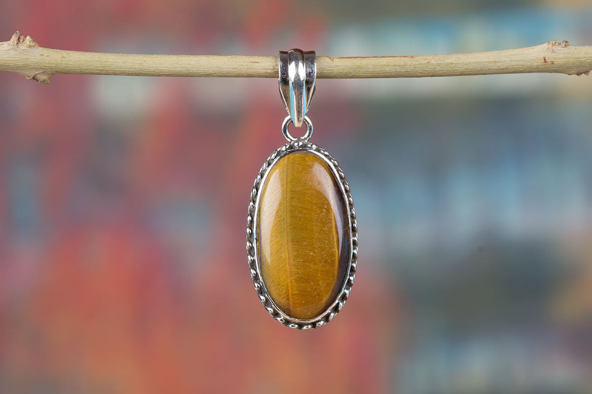 Tiger Eye Silver Pendant 925 Sterling Jewelry Handmade Gemstone Real Pendants