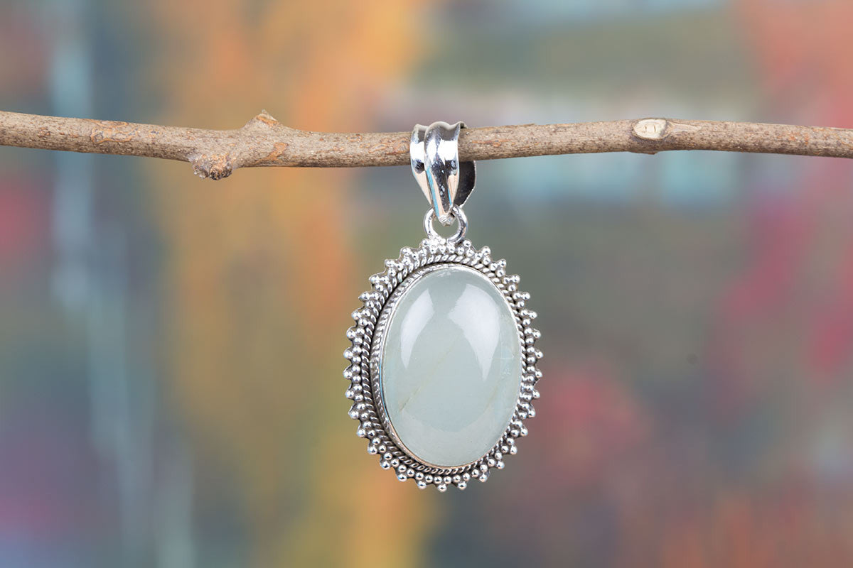Awesome Sterling Silver Aqua Chalcedony Gemstone Handmade Real Pendant Jewelry