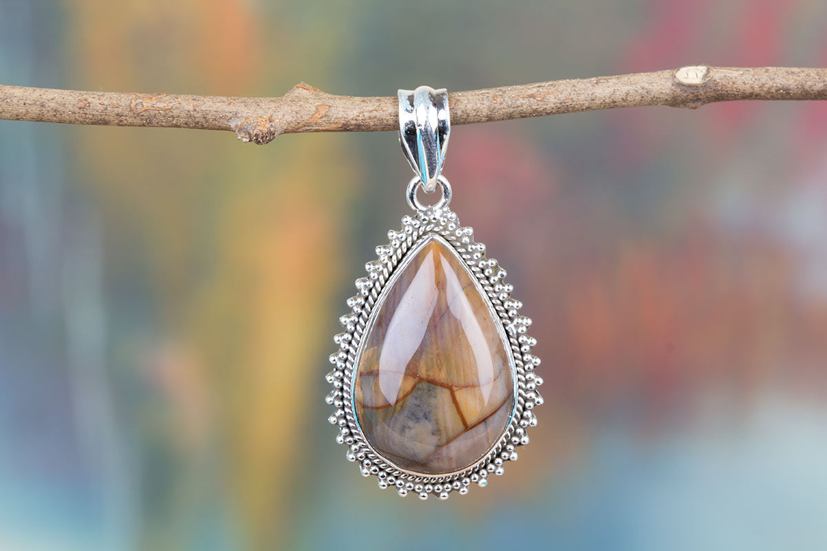 Beautiful Jasper Silver Sterling Gemstone Handmade Real Pendant