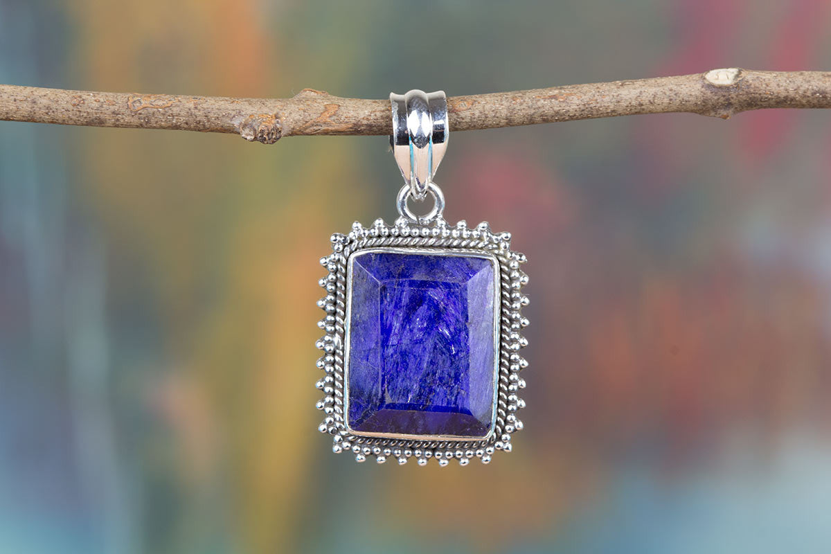 Charming 925 Sterling Silver Sapphire Gemstone Real Pendant Handmade Jewelry