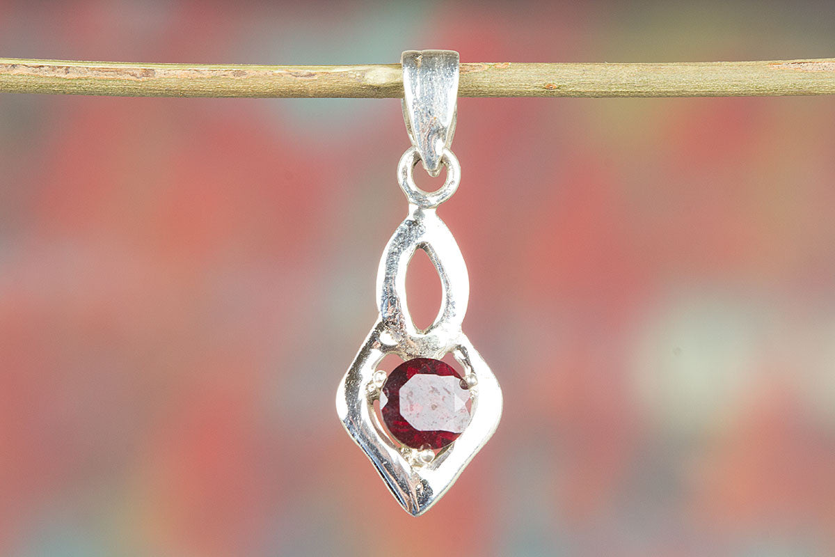 On Sale Handmade Faceted Garnet Silver Gemstone Pendant