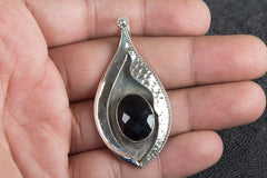 Beautiful Handmade Faceted Black Onyx  Gemstone Silver Pendant