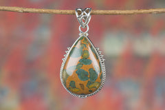 Beautiful Jasper Gemstone 925 Silver Pendant