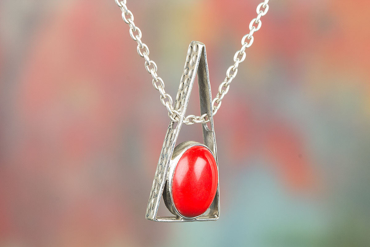 Awesome Handmade Silver Coral Gemstone Pendant