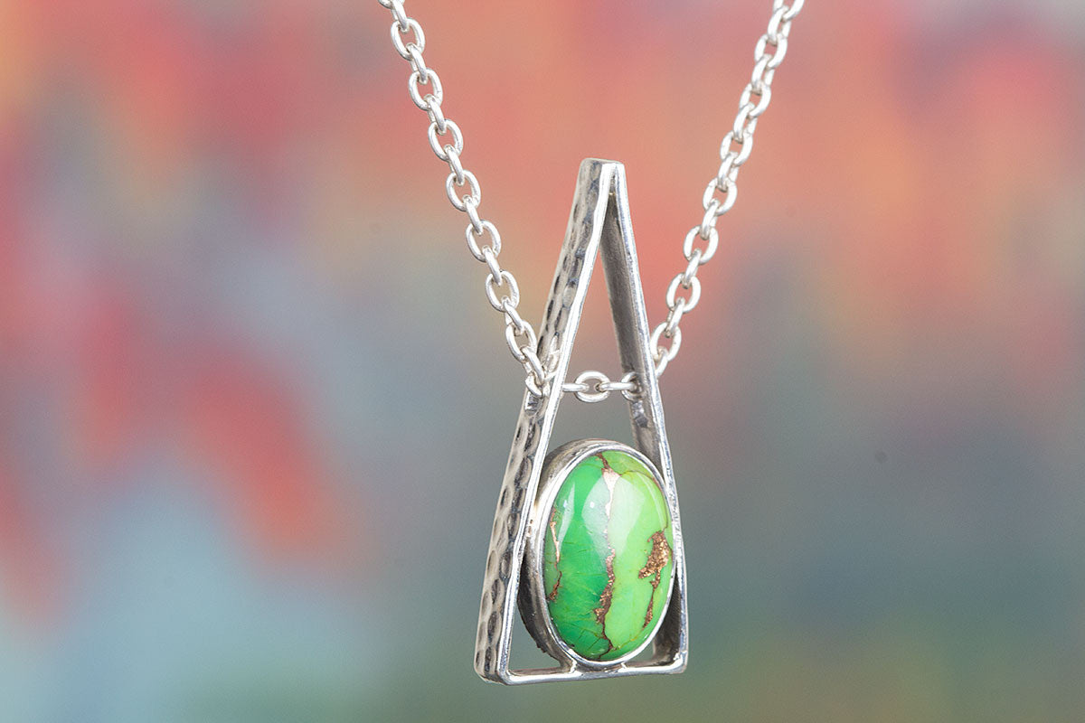 Awesome Handmade Green Turquoise Gemstone Silver Pendant