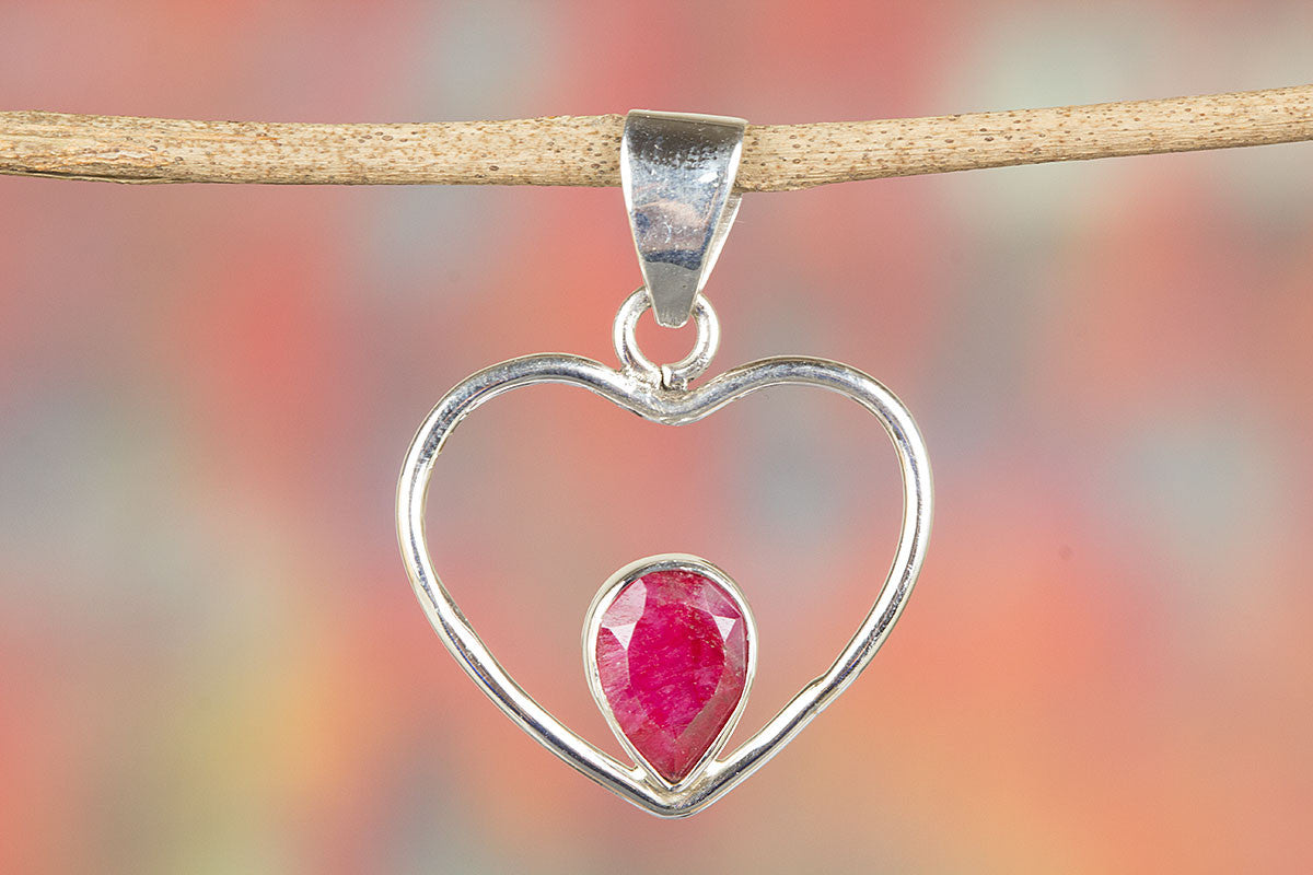 Red heart shape ruby gemstone 925 silver pendant brillante jewelry red heart shape ruby gemstone 925 silver pendant aloadofball Gallery