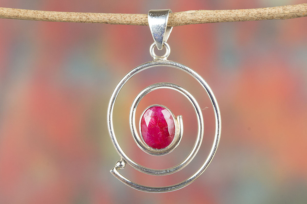 Round Shape Handmade Red Ruby Gemstone 925 Silver Pendant