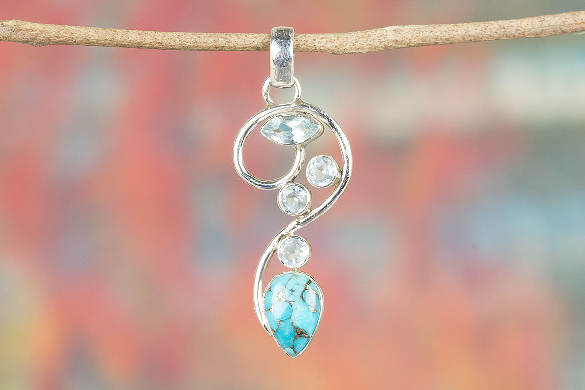 Awesome Blue Copper Turquoise & Blue Topaz Silver Pendant