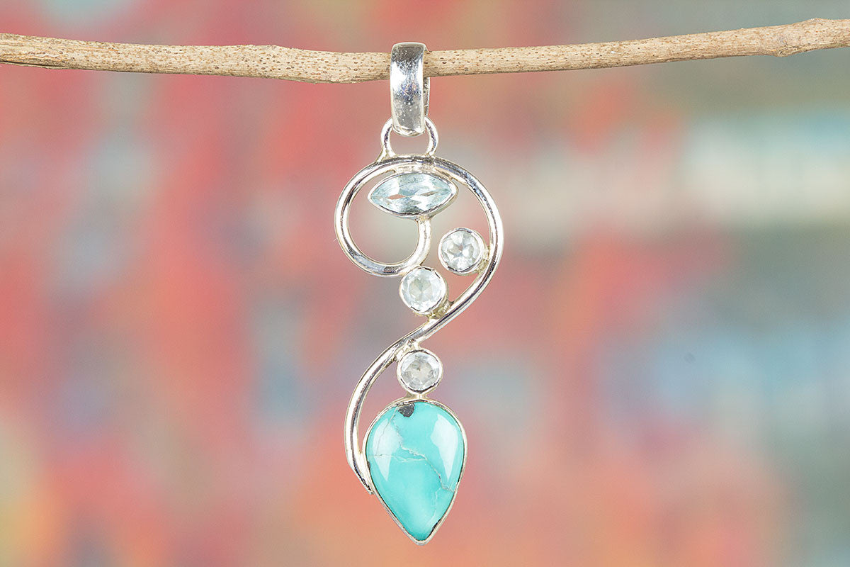 Natural Turquoise & Blue Topaz Gemstone 925 Silver Pendant