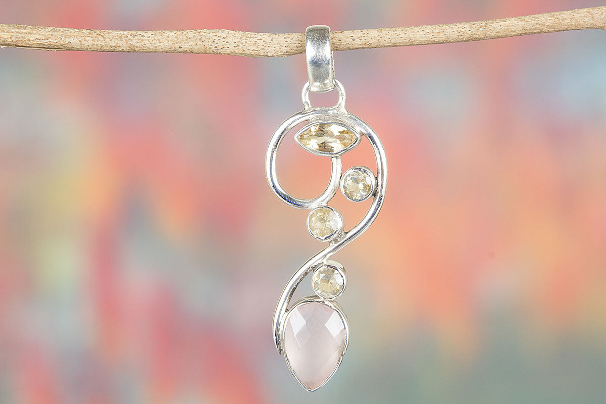Beautiful Handmade Rose Quartz & Citrine Gemstone 925 Silver  Pendant