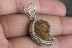 Beautiful Handmade Ammonite Gemstone 925 Silver  Pendant