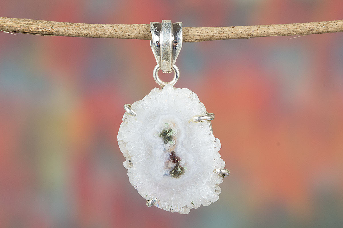 Lovely Handmade White Druzy Slice Gemstone Sterling Silver Pendant