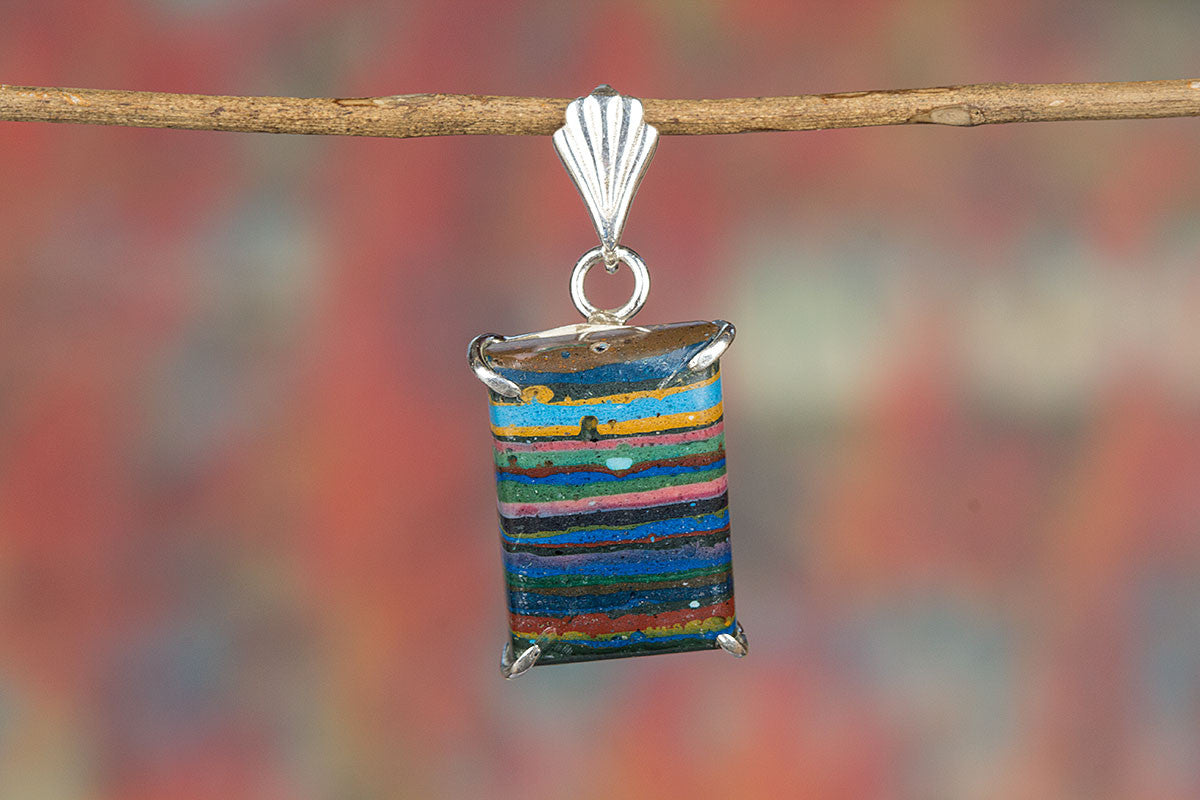 Beautiful Handmade Rainbow Calsilica Gemstone 925 Silver Pendant