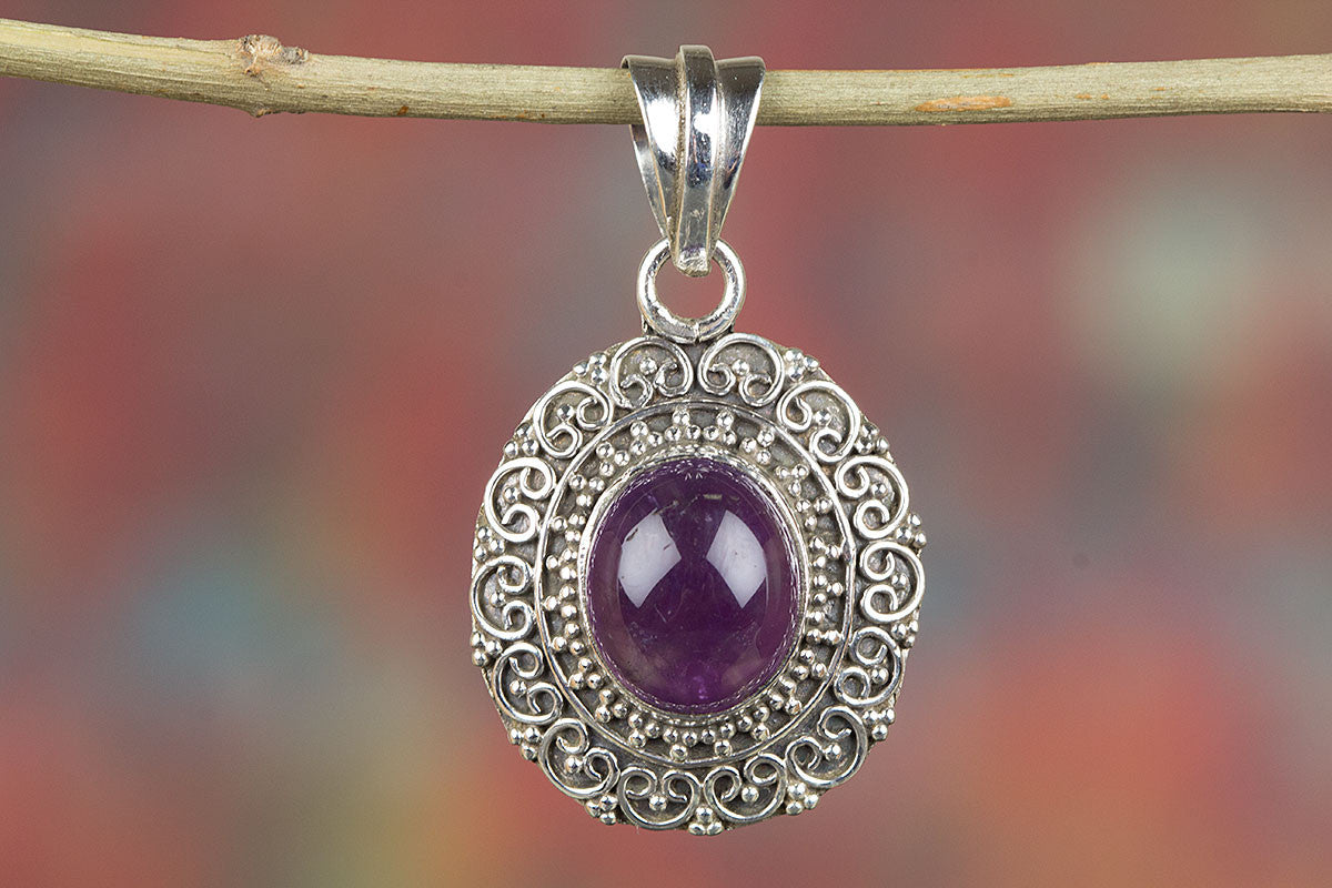 Amazing Amethyst Gemstone & Pure  925 Sterling Silver Pendant