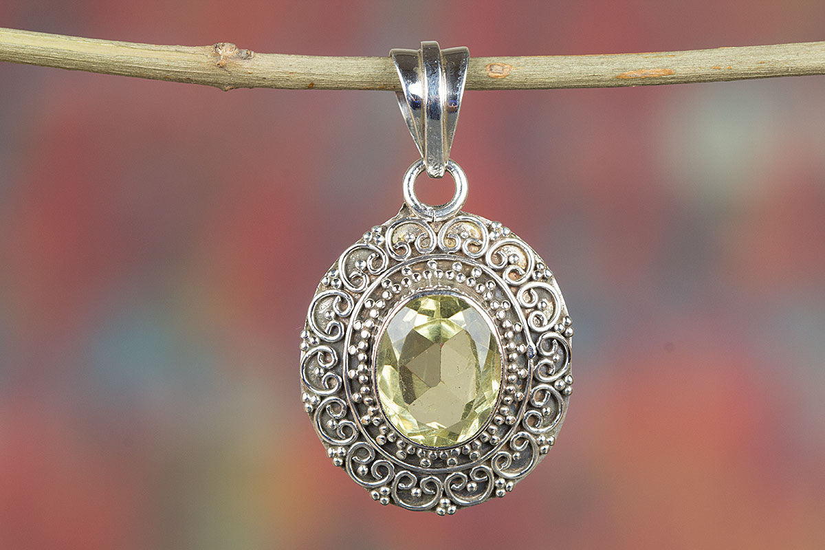 Awesome Lemon Topaz Gemstone & Pure  925 Sterling Silver Pendant