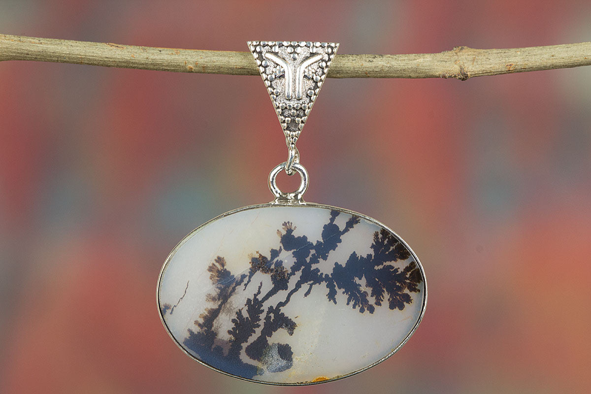 Dendritic Opal Pendant, Sterling Silver Pendant, Scenic Dendritic Pendant, Bohemian Pendant, Silver Dendritic Pendant, Handmade Jewelry, Gypsy Pendant,
