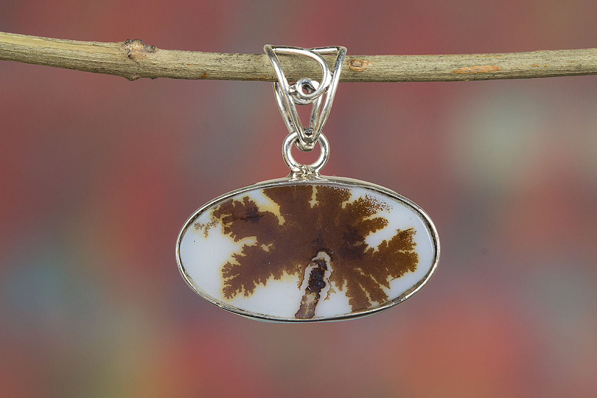Dendritic Opal Pendant, Sterling Silver Pendant, Dendritic Pendant, Bohemian Pendant, Silver Dendritic Pendant, Handmade Jewelry, Gypsy Pendant,
