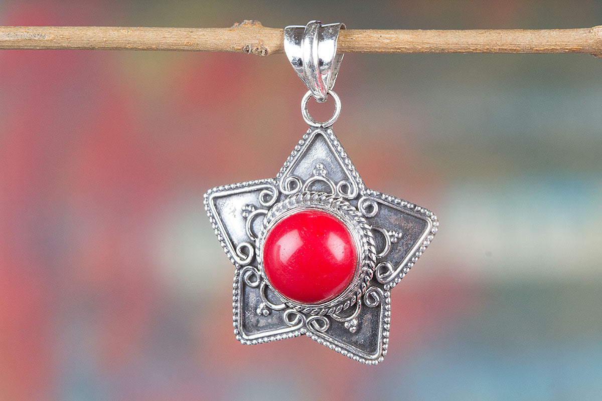 Wonderful Pure 92.5 Sterling Silver Coral Pendant