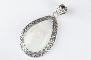 Pure 92.5 Sterling Silver Rainbow Moonstone Handcarfted Pendant