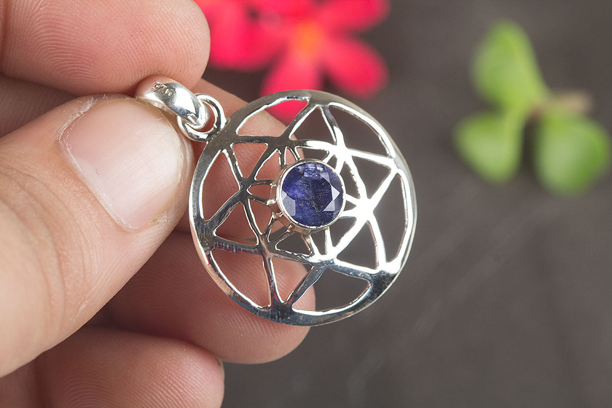 925 Sterling Silver Sapphire Gemstone Pendant