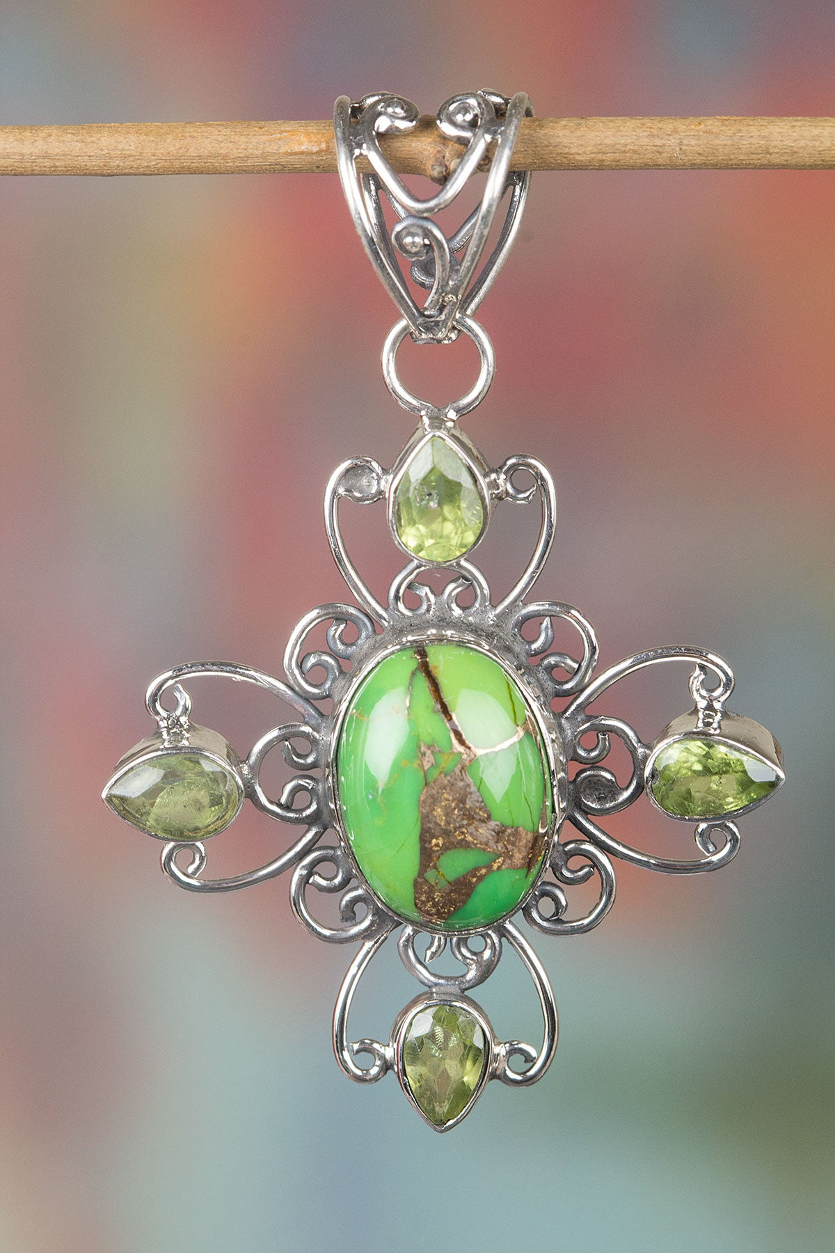 Amazing 925 Sterling Silver Green Turquoise Gemstone Pendant,
