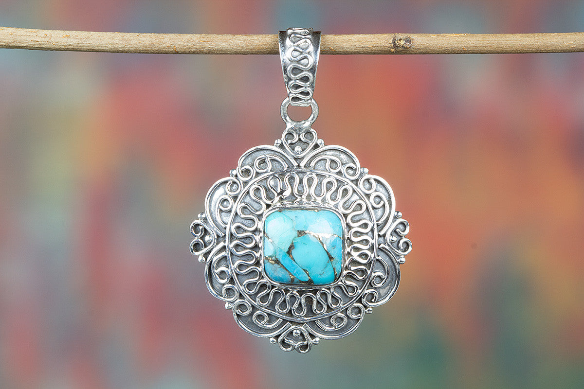 Blue Copper Turquoise Gemstone 925 Silver Pendant