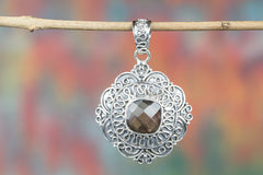 Faceted Smoky Quartz Gemstone 925 Silver Pendant