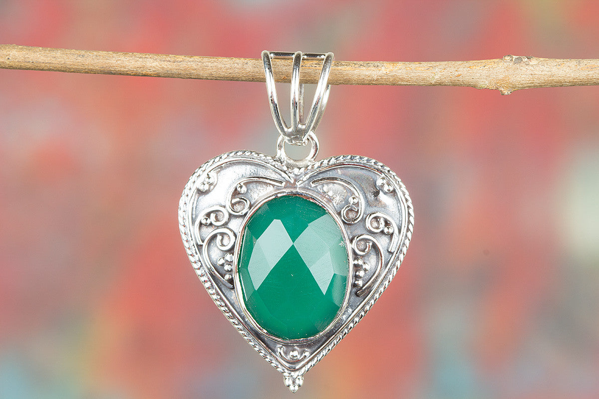 Faceted Green Onyx Gemstone 925 Silver Pendant