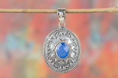 Amazing Faceted Blue Chalcedony Gemstone Pendant