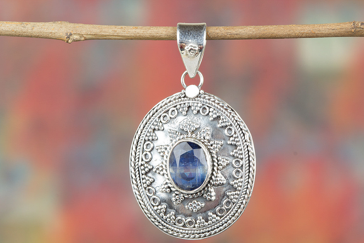 Chunky Kyanite Gemstone & Pure Sterling Silver Pendant