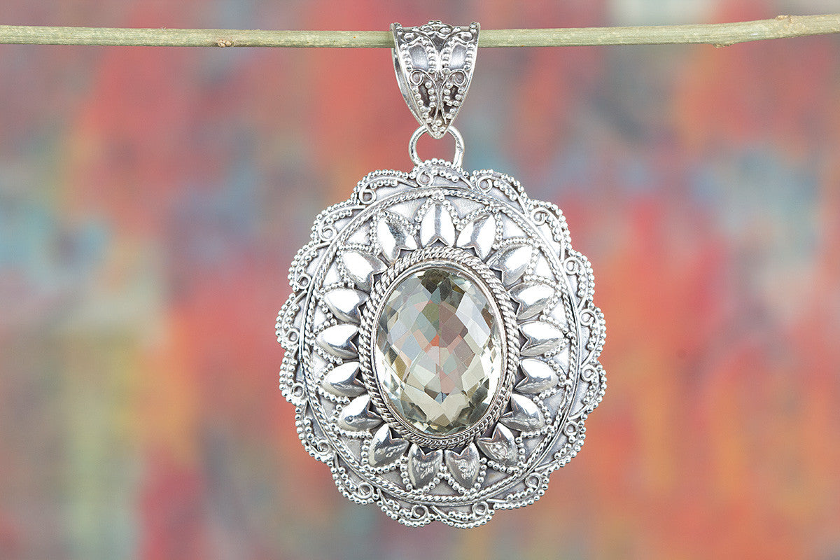 Amazing Faceted Green Amethyst Gemstone Sterling Silver Pendant