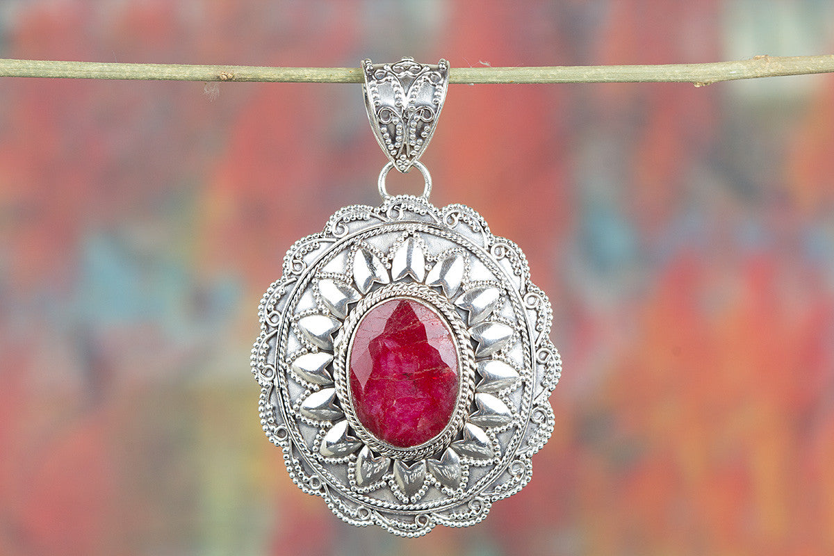 Charming Ruby Gemstone Sterling Silver Pendant