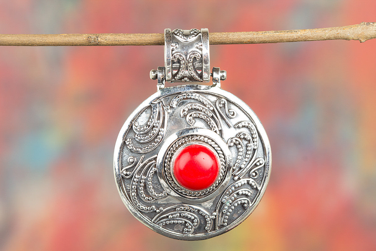 Beautiful Coral Gemstone Sterling Silver Pendant