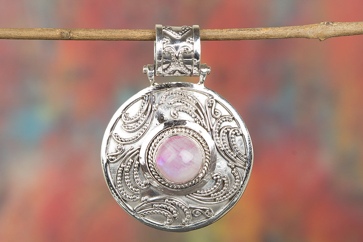 Awesome Pink Rainbow Moonstone Gemstone Sterling Silver Pendant