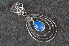 Charming Faceted Blue Chalcedony Gemstone Sterling Silver Pendant