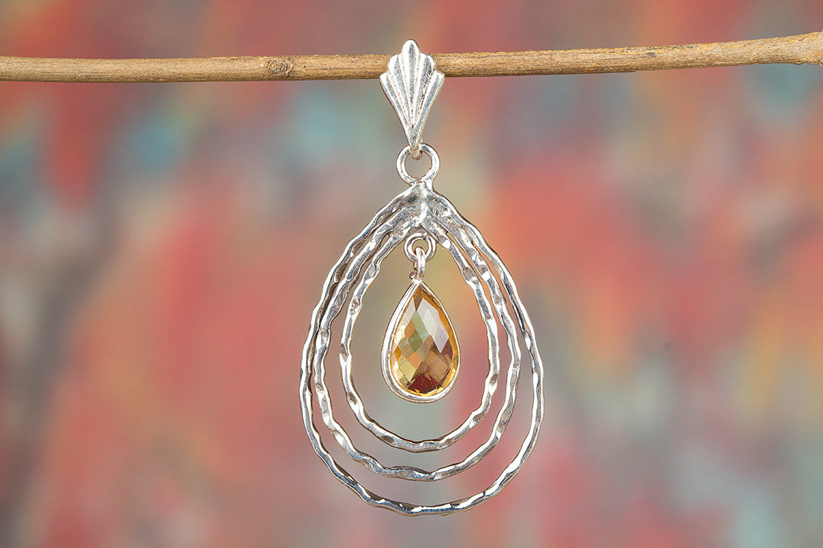 Amazing Citrine Gemstone Sterling Silver Pendant