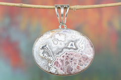 Beautiful Handmade Crazy Lace Agate Gemstone 925 Silver Pendant